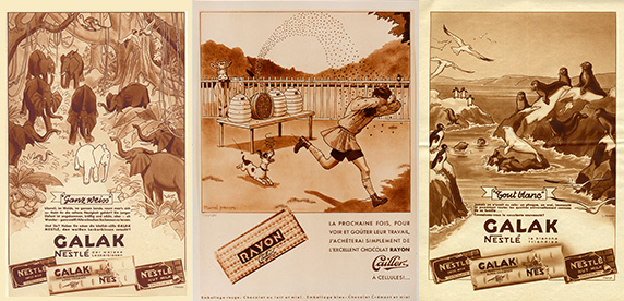 Cartelería de los nuevos productos de chocolates de la época